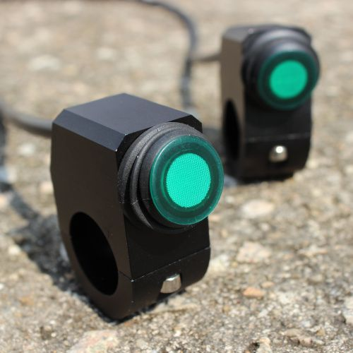 12v 16A Waterproof Motorcycle Switch CNC Aluminium Alloy Switches 22-24mm Handlebar Headlight 3 Wires Waterproof Green Light