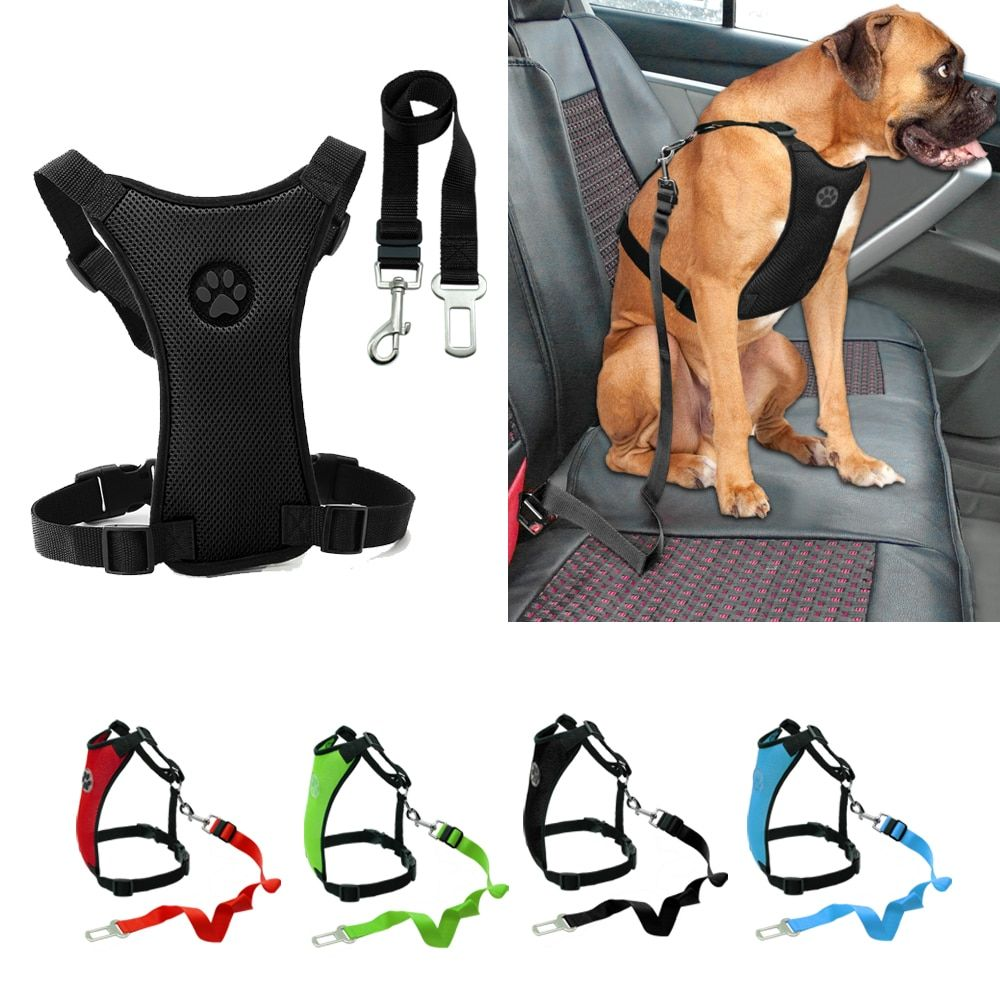 Car Seat Dog Harness and Leash Seat Safety Vehicle Dog Leads Belt For Small Medium Large Pet French Bulldog Labrador