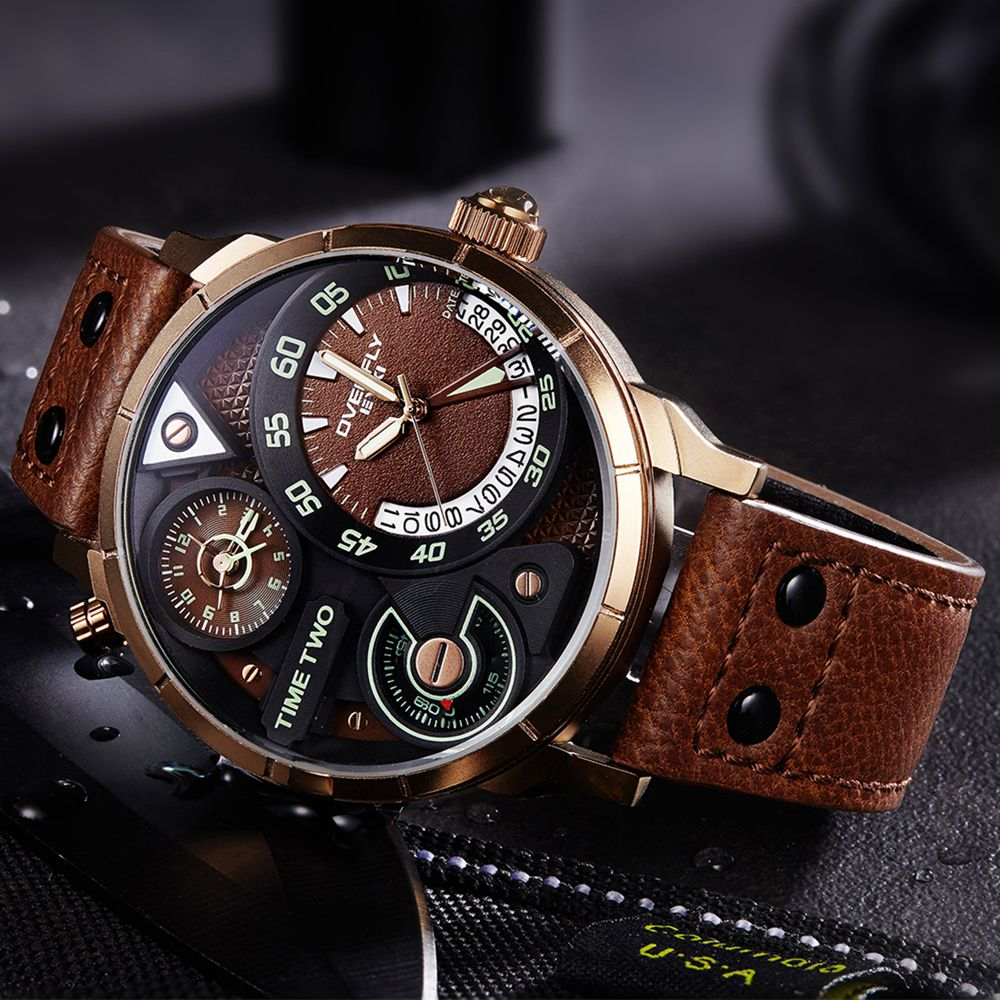 EYKI Super Big Multilayer Stereoscopic Dial Two Time <font><b>Zone</b></font> Display Fashion Sport Watch Men Waterproof Luminous Luxury Brand Watch
