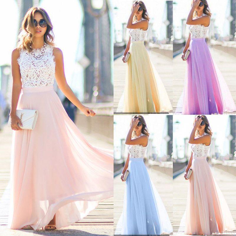 Dropshipping Women Boho Lace Maxi Dress 2019 Summer Ladies Sleeveless Hollow Out Long Sundress Beach Evening Party Dresses S-XXL