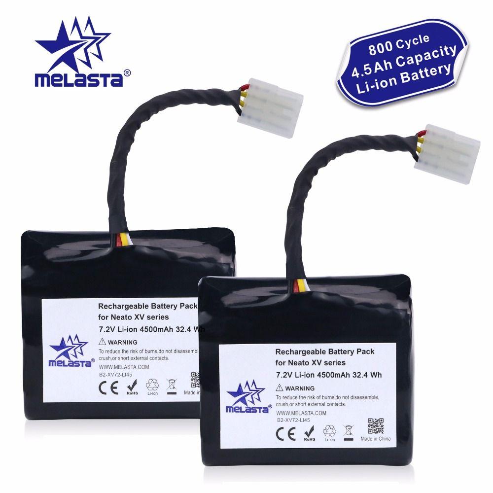 Melasta 2Pack 7.2V 4.5Ah Li-ion Battery for Neato XV XV-21 XV-11 XV-14 XV-15 XV-12 XV-25 Signature XV Pro with Imported Cells