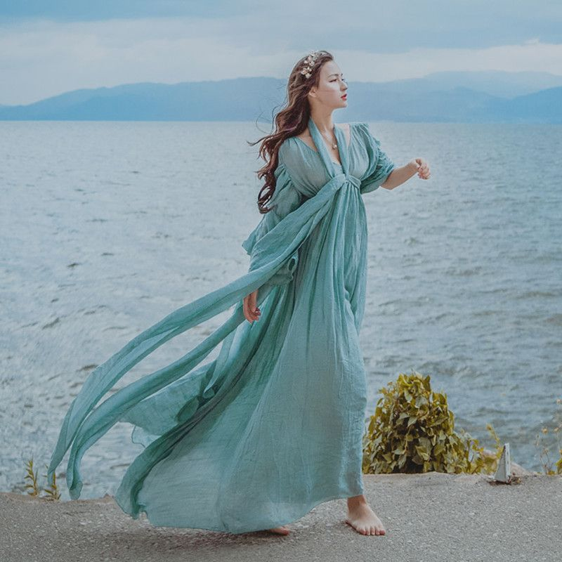 Free ship light blue seashore photo shooting vintage fairy long dress medieval dress Renaissance Gown princess Victorian dress