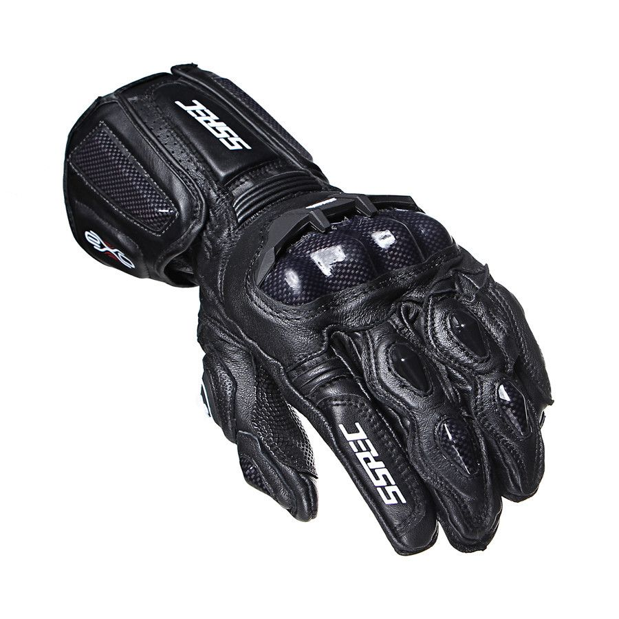 SSPEC New Black Carbon Fiber Motorcycle Gloves Leather Men moto Cycling Racing Guantes Moto Guante Para Leather Motorbike M-XL