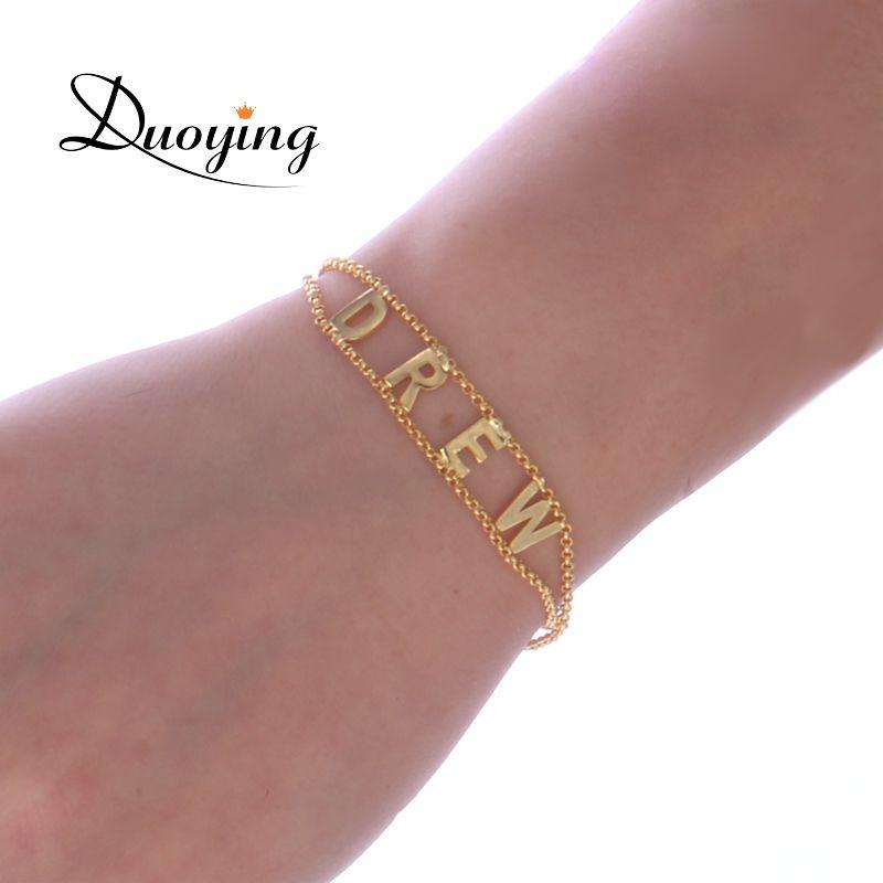 Duoying Double chaîne lien bracelet bricolage personnalisé Capital lettre Bracelets personnalisé bijoux initiales nom Bracelet nouveau pour Etsy