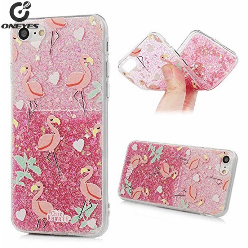 Mädchen stil rosa Flamingo Hawaii Flüssigkeit Glitter Pulver Fall Für IPhone 6 6 s 6 plus 7 7 Plus Vollschutzmaßnahmen Weichen abdeckung telefon fall