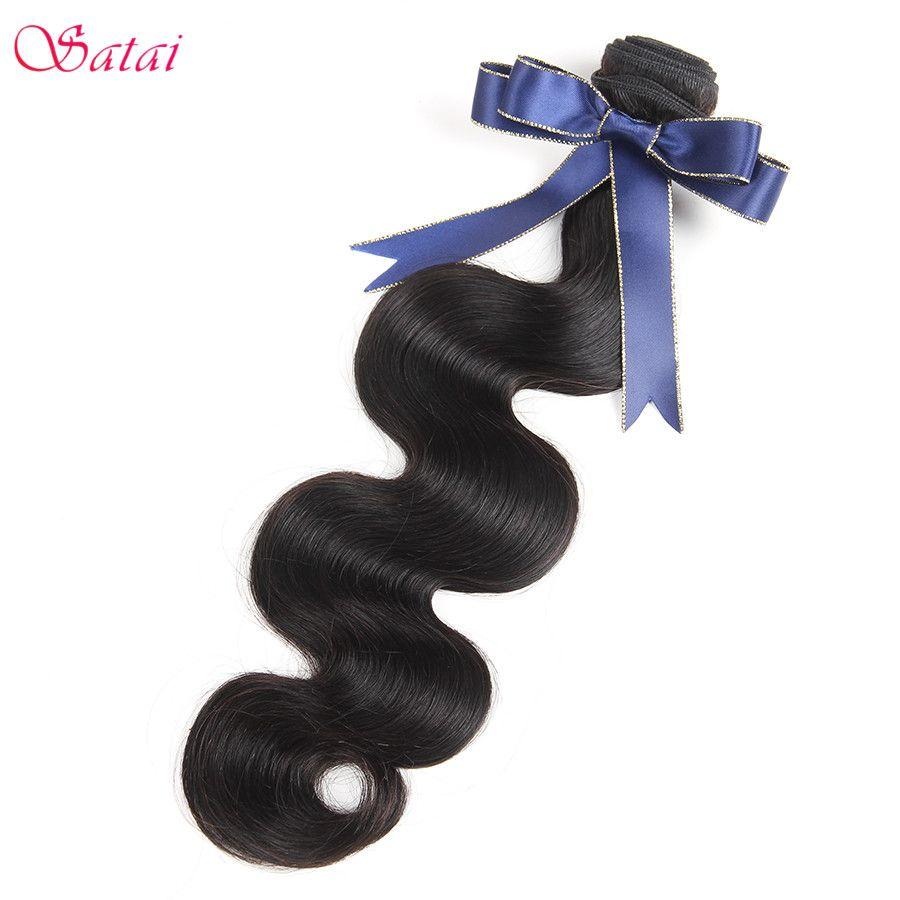 Satai Brésilien Vague de Corps Cheveux Extension 1 pièce Remy de Cheveux Humains Bundles Naturel Noir Couleur 8-28 pouce Pas tangle