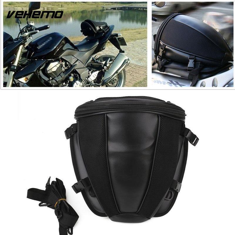 Vehemo Saddle Bag Motorcycle Rear Seat Bag Moto Tank Bag Racing Oil Tank Tail Bags