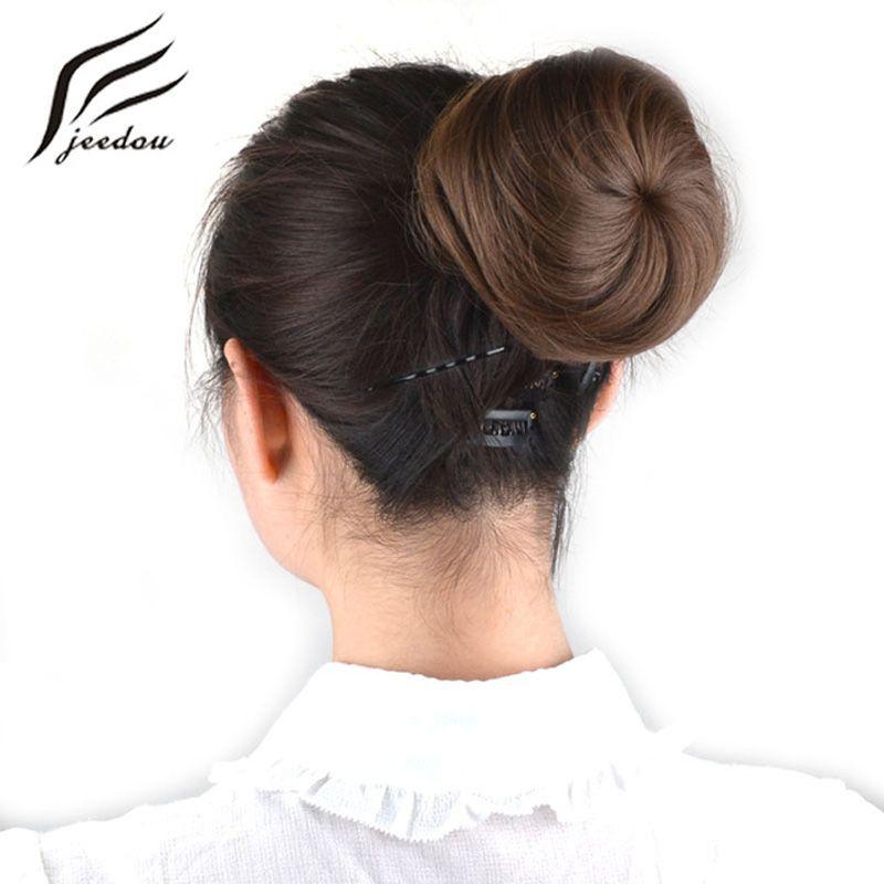 Jeedou cheveux synthétiques Chignon noir brun mélange couleur 30g cheveux Chignon Pad beignet Chignon bande de caoutchouc Extensions de cheveux postiches