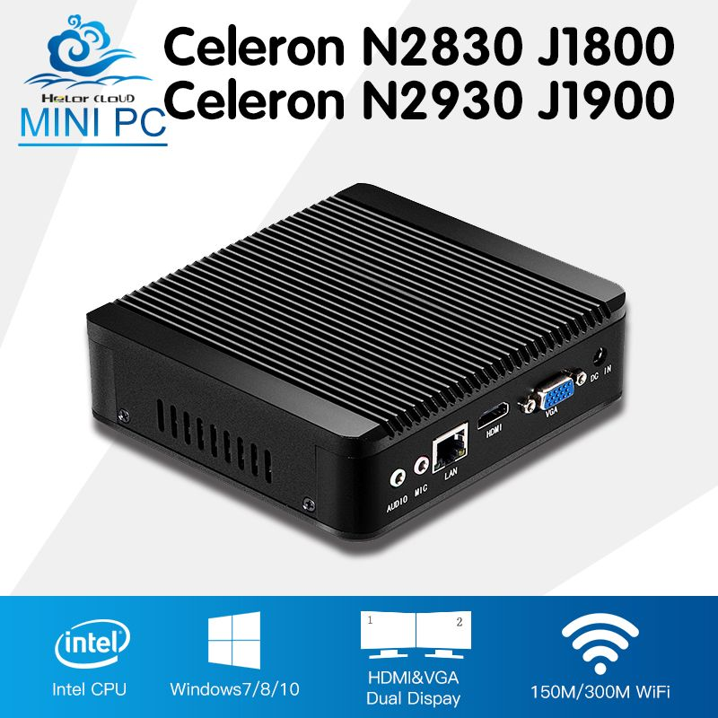 Мини-ПК Celeron n2930 J1900 4 ядра окна 7 Celeron n2830 J1800 двухъядерный Оконные рамы 10 мини настольный компьютер ddr3 Оперативная память HTPC HDMI