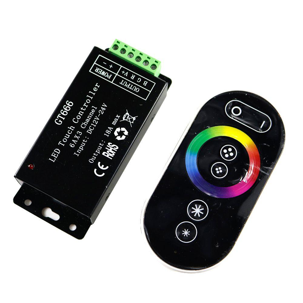 12V GT666 Touch led controller DC12-24V 6Ax3channel 18A RBG controller led dimmer for 5050 3528 2835 RGB led strip lights tape
