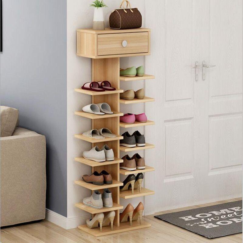 Double Shoe Racks scarpiera organizer Wooden Home Furniture estanteria para zapatos For Living room Shoe Cabinet With Cabinet