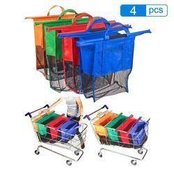 4 unids/set espesar carro supermercado compras Grab almacenamiento reutilizable plegable respetuoso tienda totalizadores del bolso