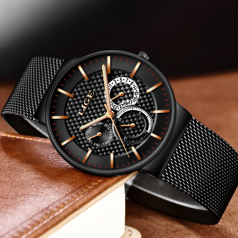 LIGE Luxury Brand casual Watches Men Simple Business Quartz Watch Man Mesh strap Date Fashion Black Clock Man relogio masculino