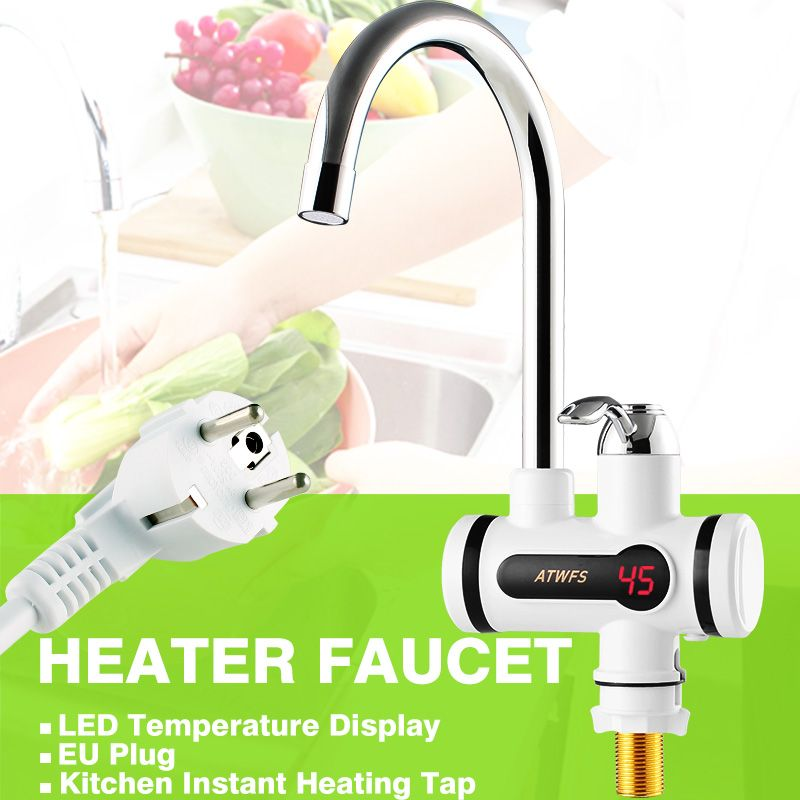 Electric Hot Faucet Water Heater Electric Tankless Water Heating Kitchen Faucet Digital Display <font><b>Instant</b></font> Water Tap 3000 W