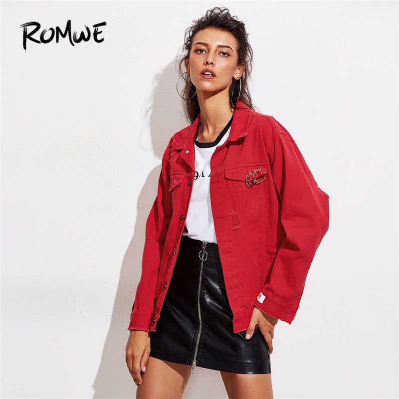 ROMWE O-Ring Detail Destructed Denim Jacket 2018 Spring Single Breasted Plain Women Coat Red Collar Casual Jacket