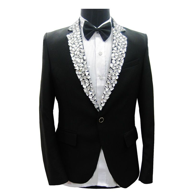 Man Suit Jacket Stage Performance Collar Rhinestone Decoration Black Tuxedo with Pants Autumn Winter Men Suit Jackets 4pcs Set