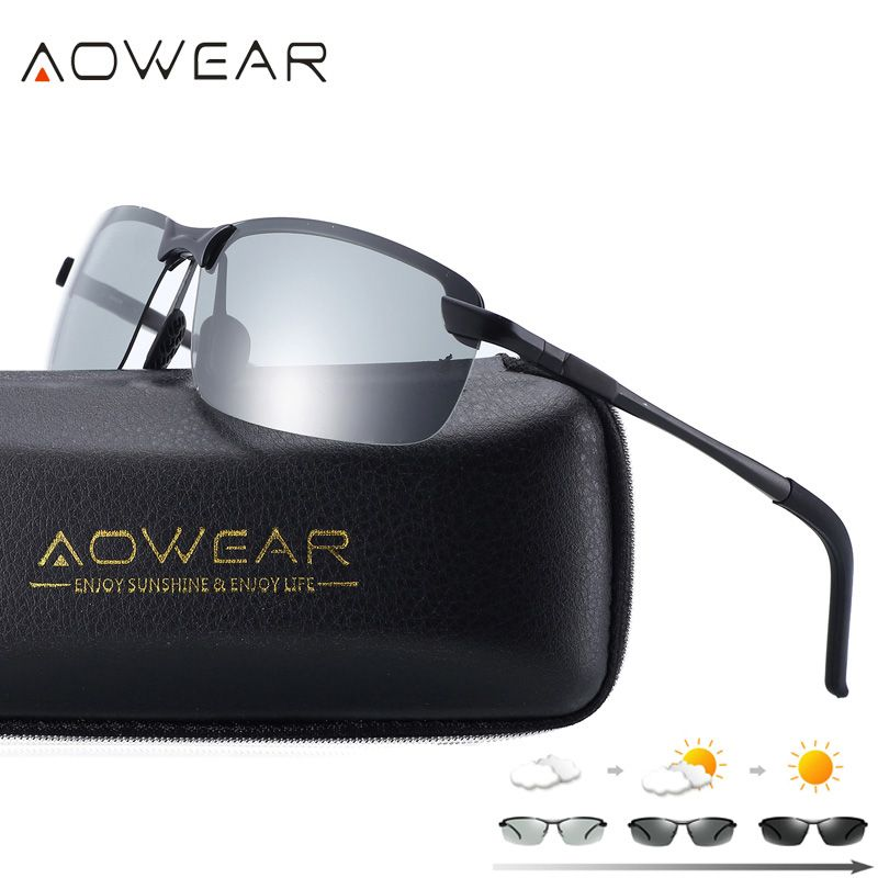 AOWEAR HD Polarized Photochromic Sunglasses Men Driving Chameleon Glasses Male Day <font><b>Night</b></font> Driver Goggles Oculos Lentes Sol Hombre