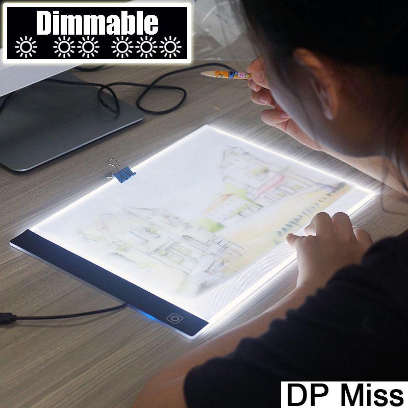 Dimmable! Ultra-mince A4 LED Tablette S'appliquent à UE/UK/AU/US/Prise USB Diamant Broderie diamant Peinture Point De Croix Kits