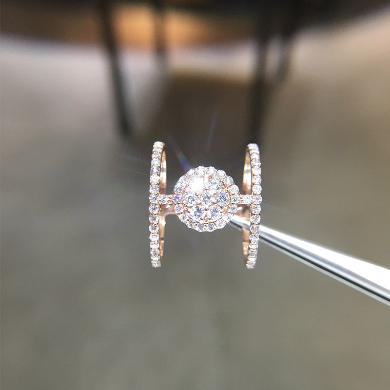 ANI 14 Karat Roségold (AU750) hochzeit Frauen Ringe Certified IJ/SI 0,92 CT Round Cut Reale Natürliche Diamant Ring Mode-Design