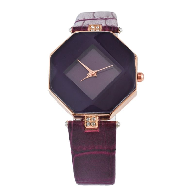 Doreen Box PU Leder Quarz Armbanduhren Octagon Multicolor Strass Casual Batterie Enthalten 23,5 cm (9 2/8