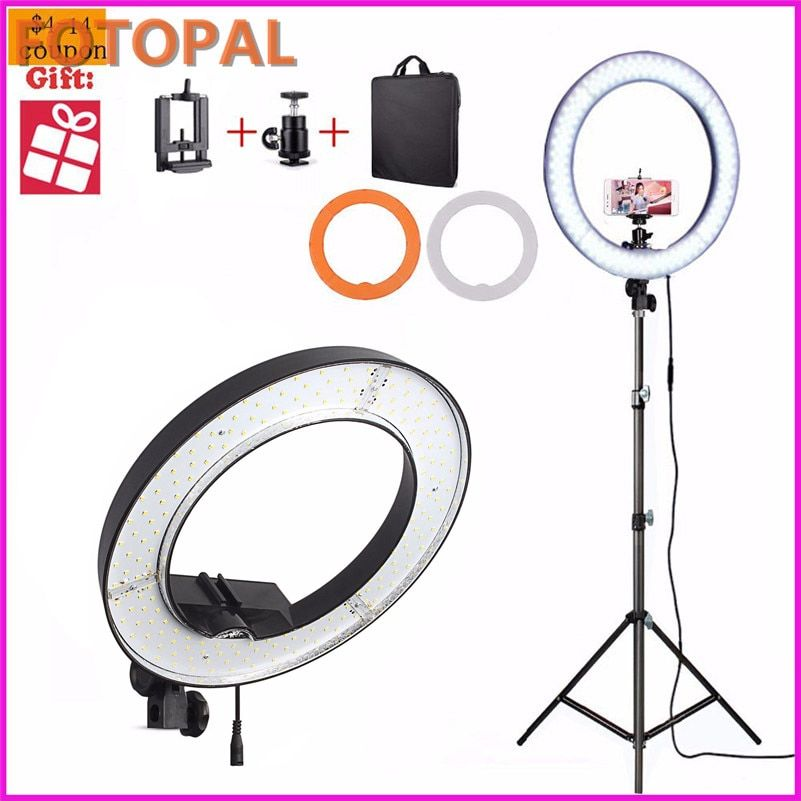 Fotopal 240PCS LED Ring Selfie Light Camera Photo Studio Phone <font><b>Video</b></font> Photography Dimmable Annular Makeup Lamp 480 With 2M Tripod