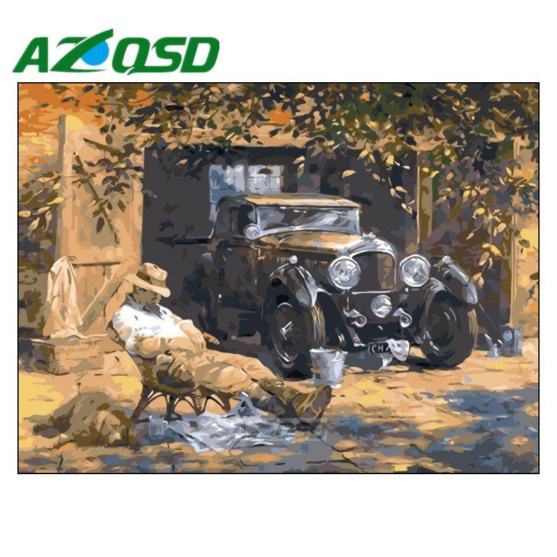 AZQSD Peinture Par Numéros Sans Cadre 40x50 cm Vieil Homme sur Garage Peinture À L'huile Image Par des chiffres Sur La Toile Décor à la maison szyh153