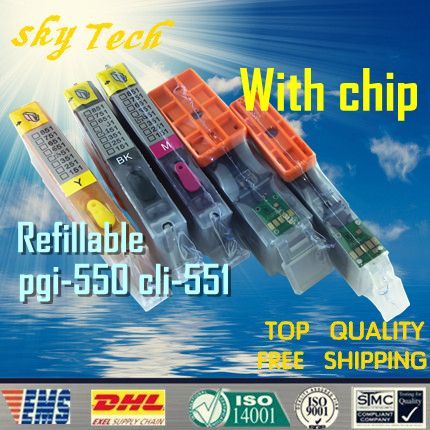 5PK Full ink Refillable Cartridge suit for PGI550 CLI551 ,Suit for canon MG5450 MG5550 MG6350 MG6550 MG7150 iP7250,with ARC chip