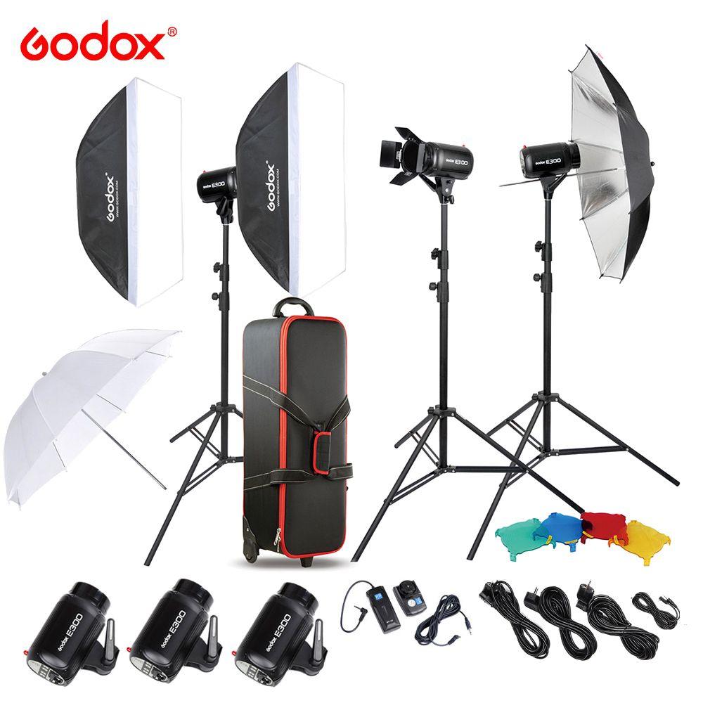Original Godox E300-D Fotostudio Speedlite Beleuchtung Kit mit 300 Watt Studio Flash-blitzleuchte Stehen Softbox Barn Door Trigger
