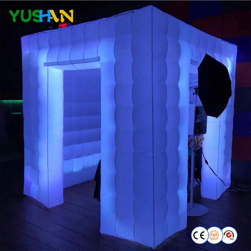 LED All Around Portable Photo Booth 2 Doors Inflatable Booth Enclosure wedding Tent Backdrops For Wedding Parties Birthday 2018
