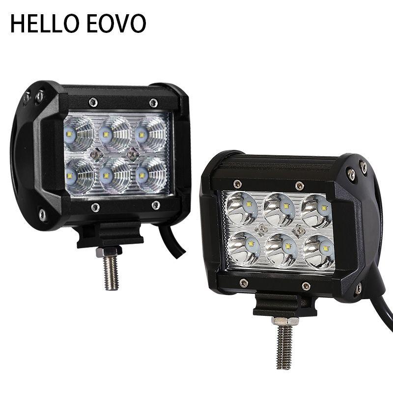 Hello eovo 4 дюймов 18 Вт работы свет бар для индикаторы вождения мотоцикла Offroad Лодка автомобиль тягач 4X4 внедорожник ATV 12 В