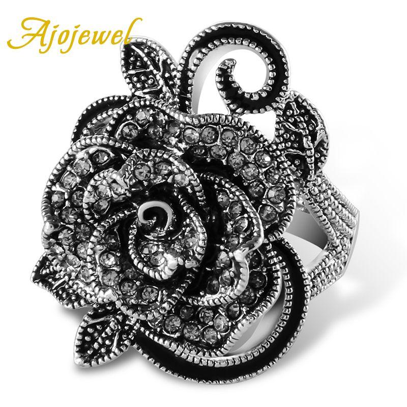 Ajojewel #7-9 Noir Rose Fleur Grand Vintage Anneaux Pour Les Femmes Unique Rétro Cristal Strass Bijoux De Luxe Cadeau