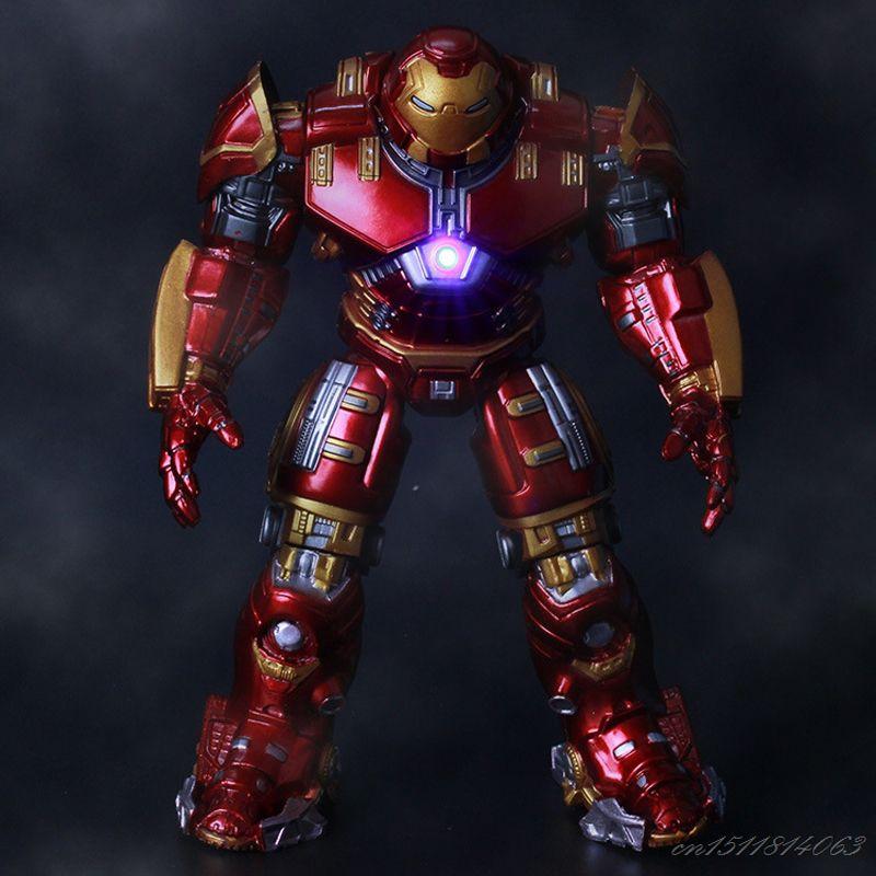 Avengers Iron Man Hulk Buster Armure Articulations Mobiles Marque Avec LED Lumière PVC Action Figure Collection Modèle Pour Enfants Jouet 18 cm