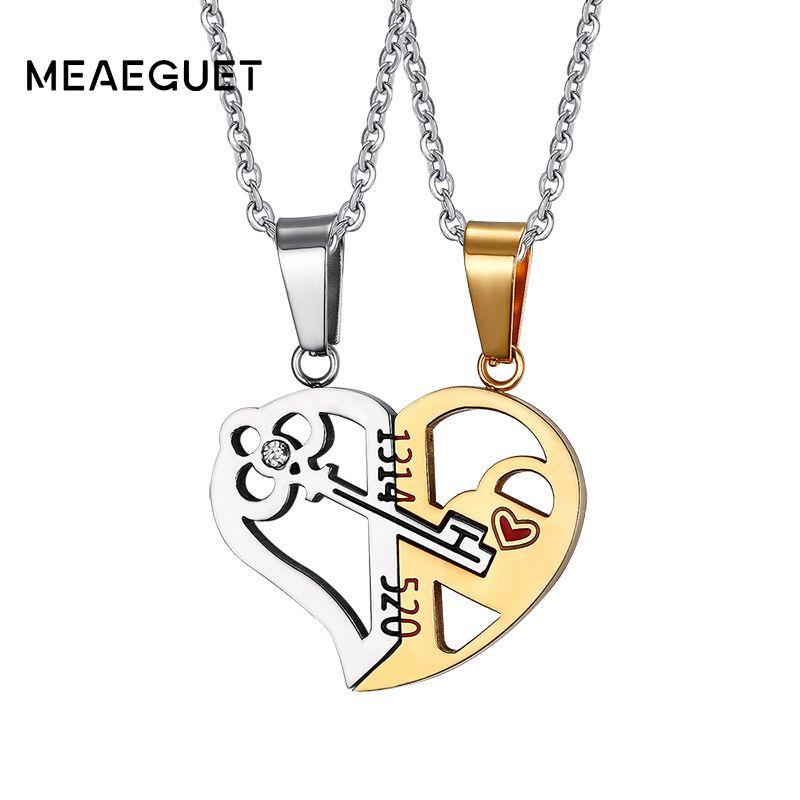 Meaeguet Romantique Couples Coeur Clé Pendentif En Cristal Son et Son Amour Collier Ensemble Amant Valentine En Acier Inoxydable 24
