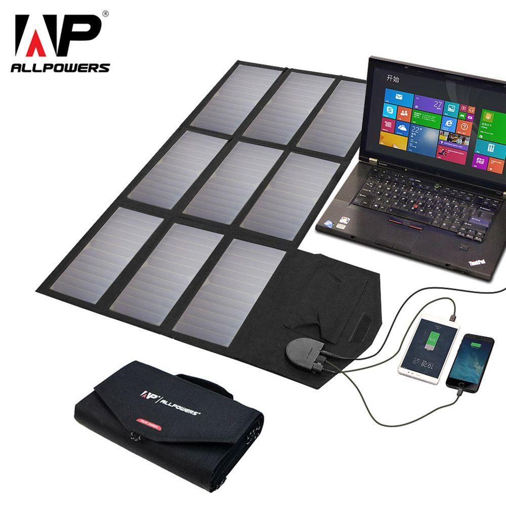 ALLPOWERS Solar Panel 60W 5V 12V 18V Folding Portable Solar Battery Charger Solar Cell for iphone Smartphone 12v Car Battery