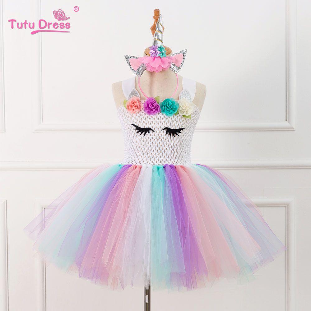 Elegant Colorful Flowers Baby Girls Clothes Birthday Party Dresses Children Birthday Gift Tutu Costume Summer Girl Tutu Dress
