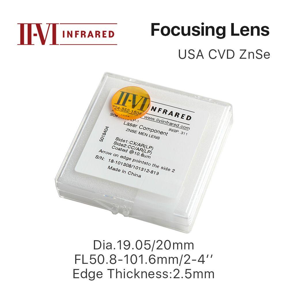 Lentille de mise au point ZnSe II-VI Cloudray DIa. 19.05mm 20mm FL 50.8-101.6mm 2-4 pour CO2 Laser gravure Machine de découpe livraison gratuite