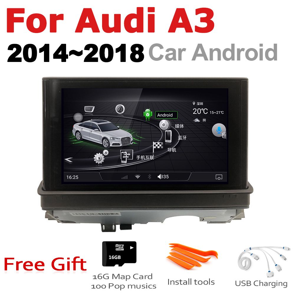 7 HD Pop up Screen Stereo Android Auto GPS Navi Karte Für Audi A3 8V 2014 ~ 2018 MMI Original Stil Multimedia Player Auto Radio