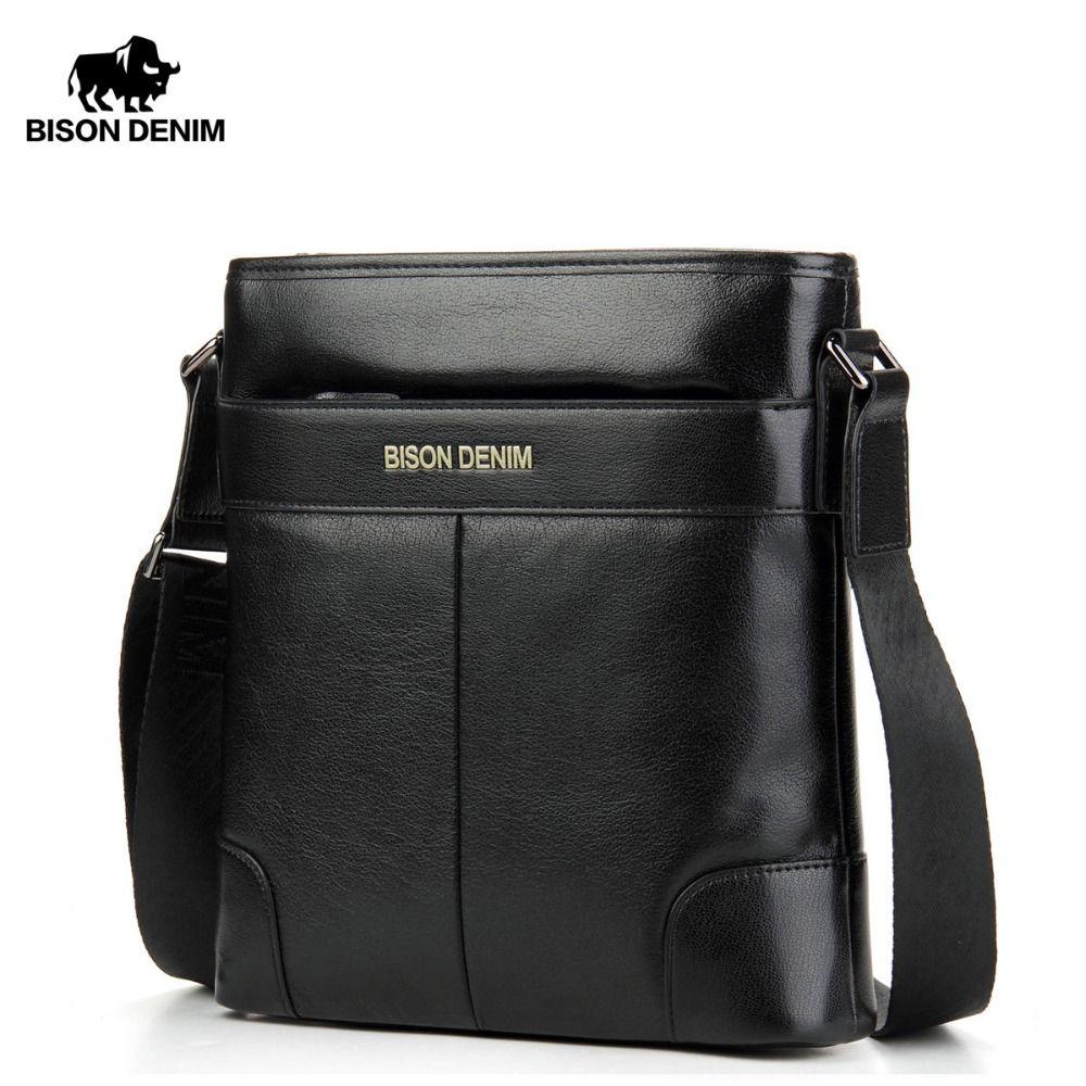 BISON DENIM Brand Male Bag Genuine Leather Shoulder Men's Bag Zipper Closed Waterproof Cowskin Casual Messenger Men Bags N2214