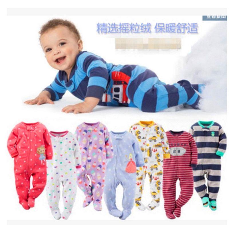 Enfants garçons et filles polaire siamois escalade vêtements avec pied chaud pyjamas bébé justaucorps barboteuse sac pet longue montée
