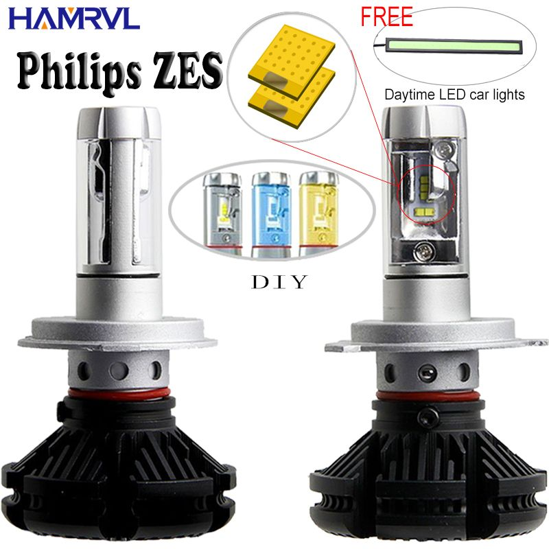 X3 H1 H3 H4 H7 H11 <font><b>9005</b></font> 9006 Car LED Headlights Bulbs 50W 6000LM with Philips ZES Chips 6500K Car LED Headlamp Light Sourcing