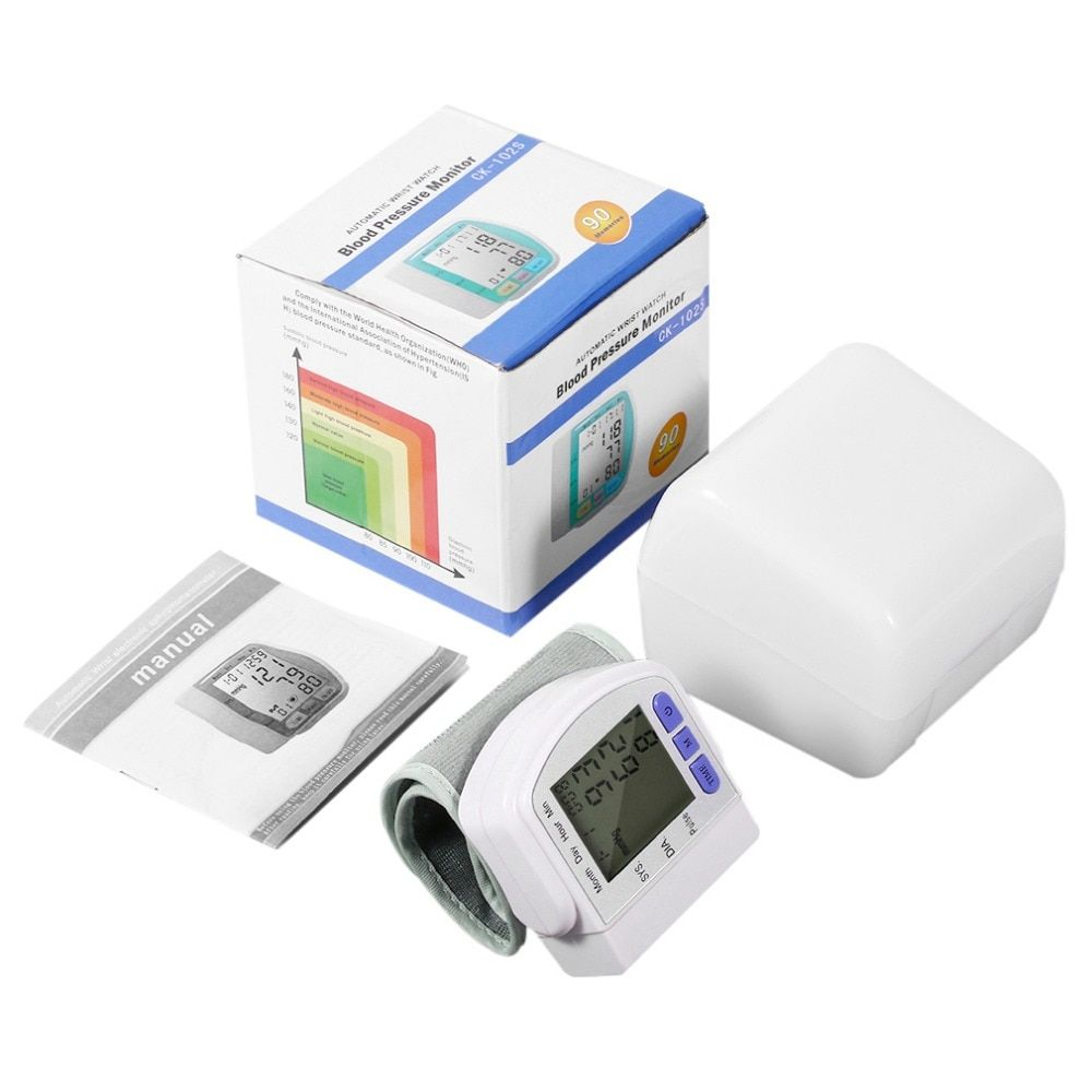 Digital LCD Automatic Wrist Blood Pressure Monitor Measurement Device Heart Beat Meter Pulse Oximeter Health <font><b>Care</b></font> Tonometer+Box