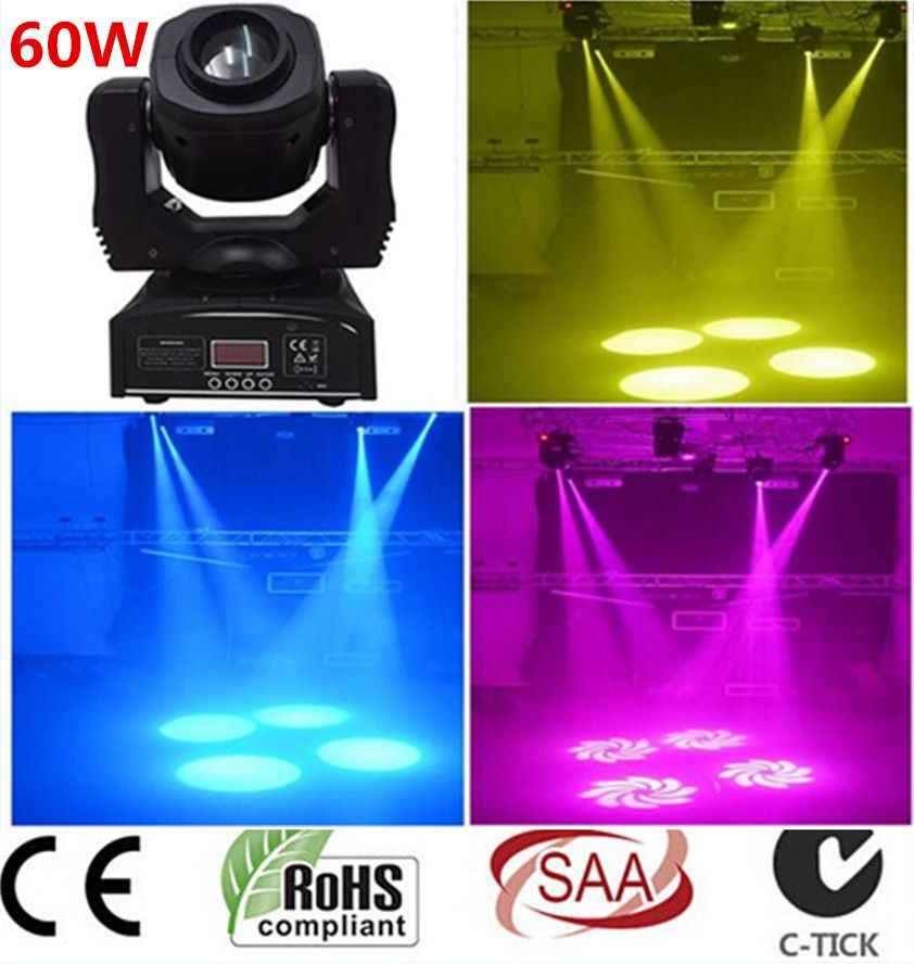 2X 60W LED Spot Moving Head Light/USA Luminums LED DJ Spot Light 60W gobo moving heads lights super bright LED DJ Spot Light