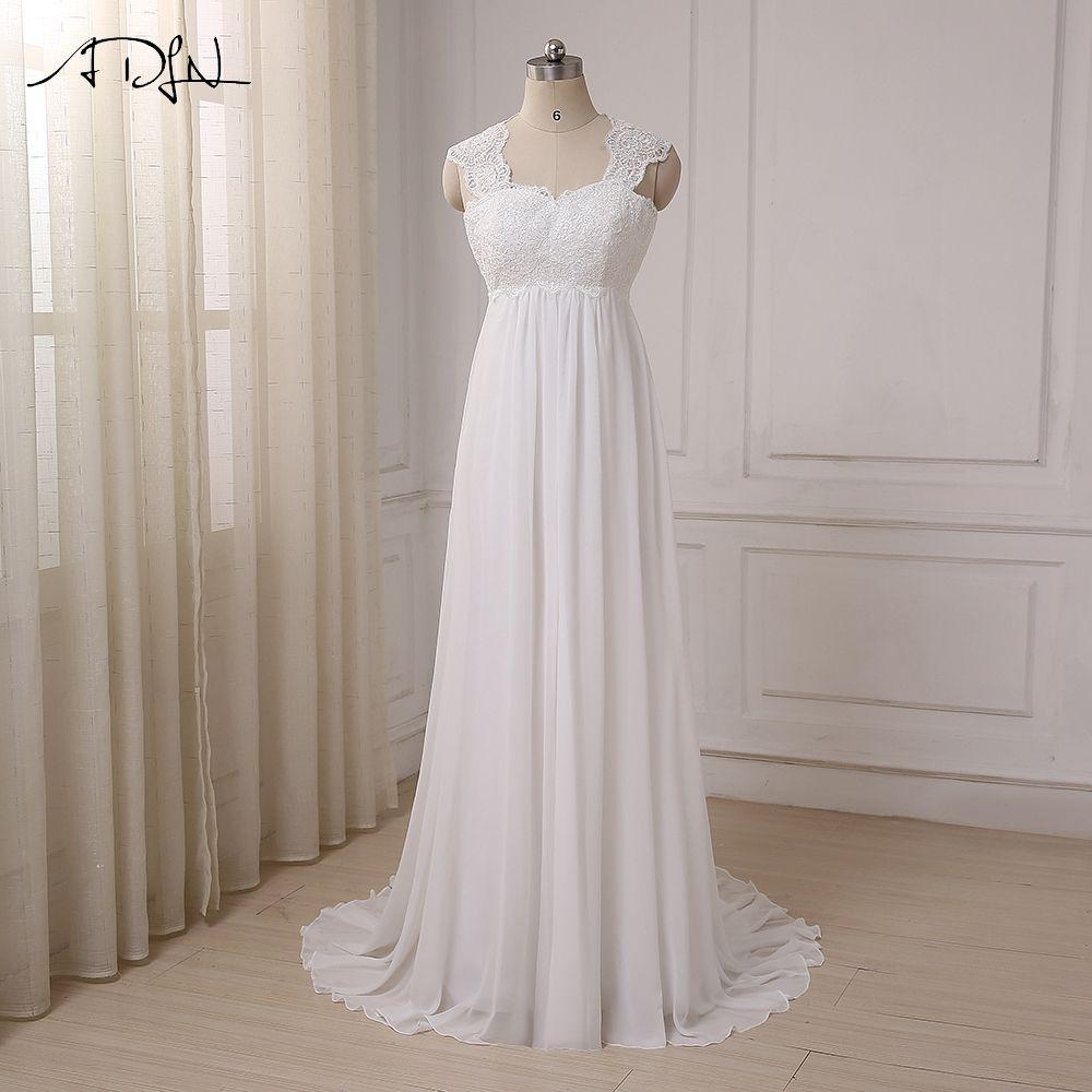 ADLN 2017 In Stock Chiffon Beach Wedding Dresses Vestido De Noiva Cap Sleeve Empire Lace-up Back Pregnant Bridal dress