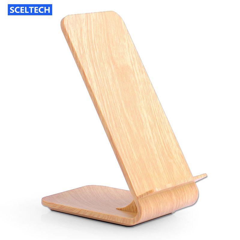 SCELTECH Holzmaserung Schnelle Drahtlose Ladegerät Schnell Drahtlose Ladestation für iPhoneX 8 8 Plus Samsung Galaxy S6 S7 S8 rand/Note5