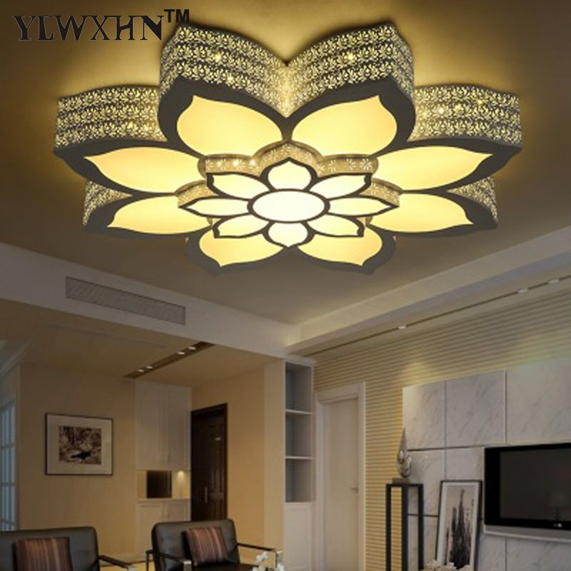 2017 Ce Hot Sale Abajur Double Layer Large Lotus Type Ceiling Lamp, Rgb+ Light +warm For Intelligent Control / Hardware Iron