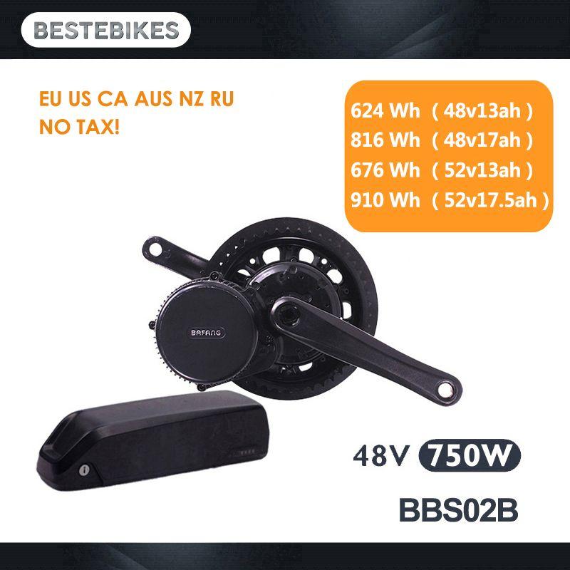 Bafang moteur BBS02B BBS02 48 V 750 w kit de conversion de vélo électrique batterie velo moteur électrique 48v13/17ah 52v13/17.5ah batterie