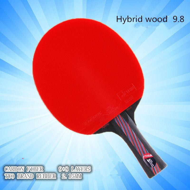 Hybride Bois 9.8 Marque Qualité tennis de Table raquette double visage Boutons-en bleu en caoutchouc Ping-Pong Raquette tenis de mesa