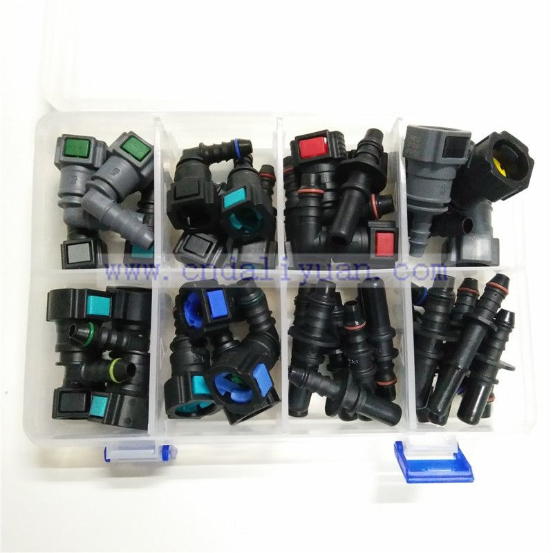 High quality one set SAE Fuel pipe fittings auto Fuel line quick connector kit whole set total 40pcs for car