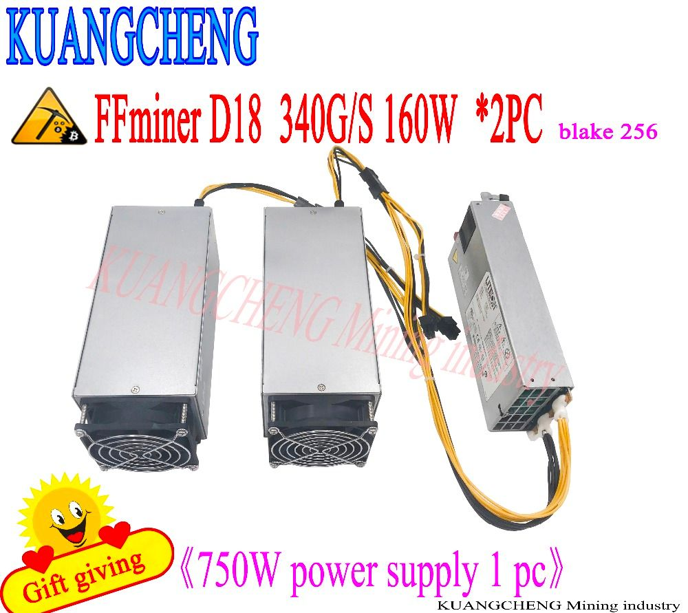 KUANGCHENG sells FFminer D18 340G DCR miner asic minr free delivery of 750W power supply cost-effective than Antminer S9
