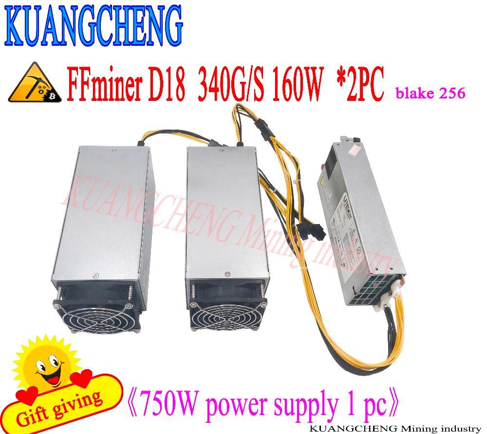 KUANGCHENG verkauft FFminer D18 340g DCR miner asic minr freies lieferung von 750 watt netzteil kosten-effektive als Antminer S9